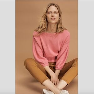 Anthropologie Cropped Balloon-Sleeve Pullover